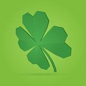 Shamrock clover four leaf polygon design.