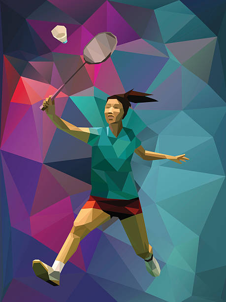 polygon style female badminton player - badminton smash stock illustrations