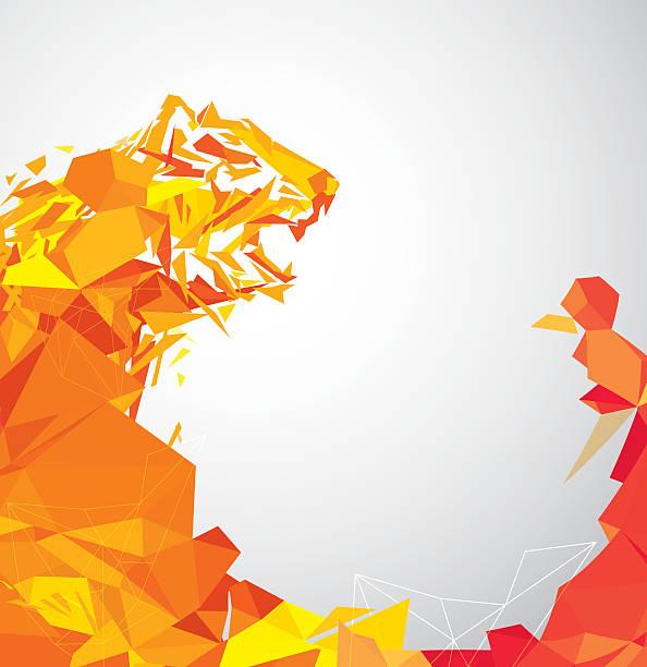 bildbanksillustrationer, clip art samt tecknat material och ikoner med polygon tiger - tron sci fi