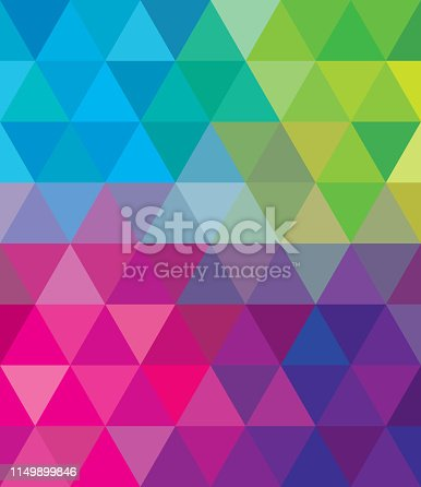 Vector illustration of multi-colored triangles in an abstract background.