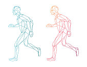 Polygon wireframe vector running man - blue and red version - energy, active lifestyle, sport concept