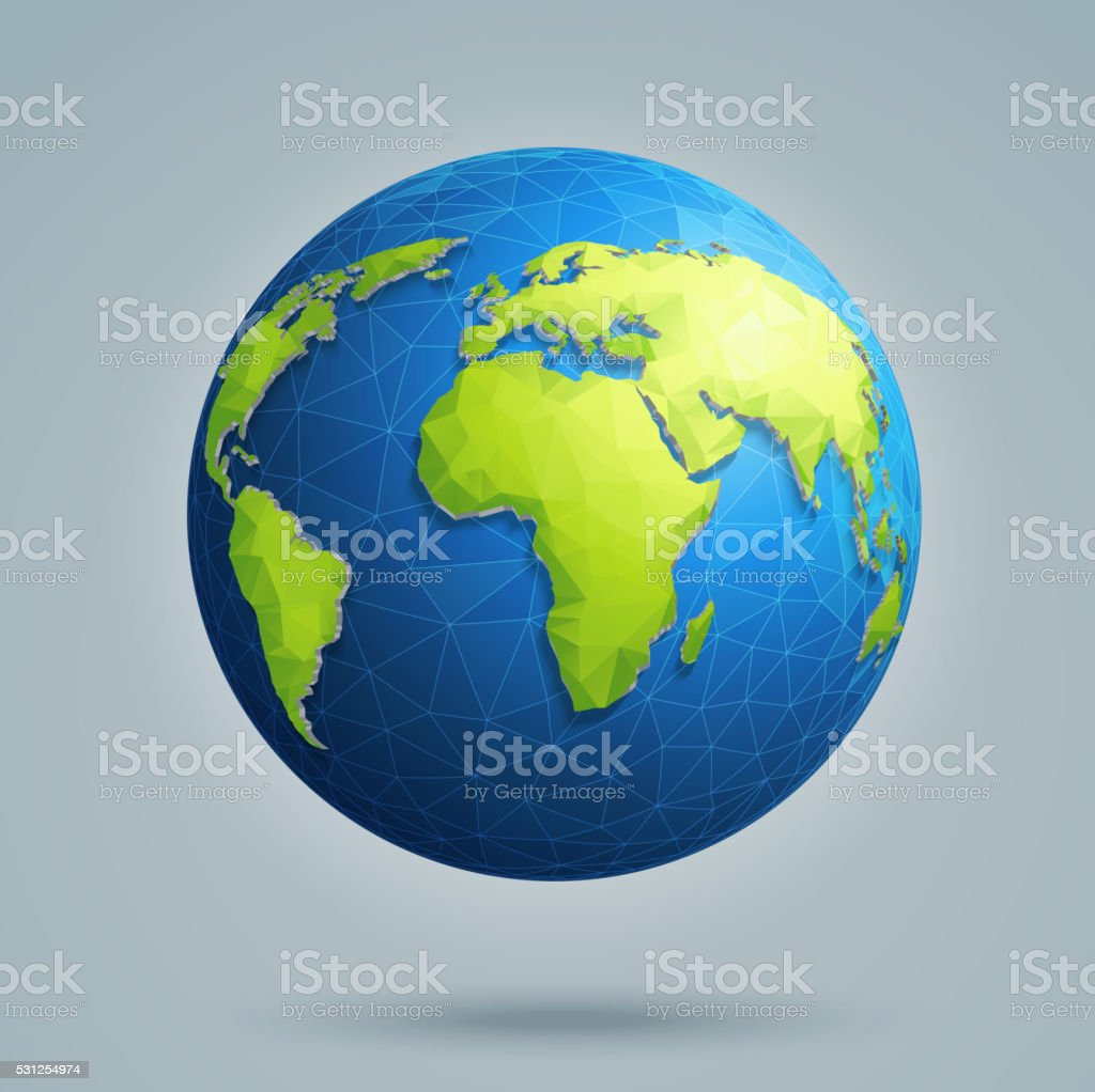polygonal 3d globe with global connections earth world map royalty free polygonal