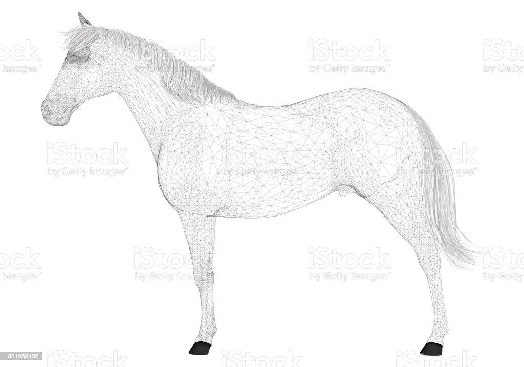 Polygonale 3d Pferd Stock Vektor Art und mehr Bilder von Abstrakt ...