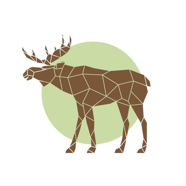 bildbanksillustrationer, clip art samt tecknat material och ikoner med polygonal abstrakt älg. vilda djur. sidovy. vektorillustration. - älg sverige
