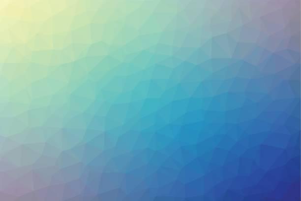 polygonale abstrakte geometrische blaue und gelbe dreieckigen low-poly style verlaufshintergrund vektor-illustration - mosaikglas stock-grafiken, -clipart, -cartoons und -symbole