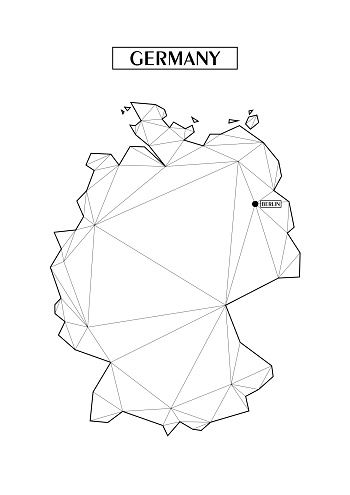 Polygonal abstract map of Germany with connected triangular shapes formed from lines. Capital of city - Berlin. Good poster for wall in your home. Decoration for room walls.