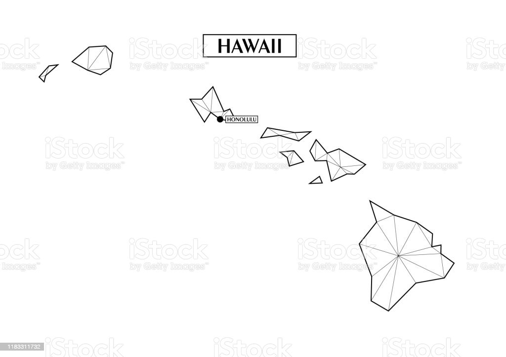 Polygonal Abstract Map State Of Hawaii With Connected Triangular Shapes Formed From Lines Capital Of State Honolulu Good Poster For Wall In Your Home Decoration For Room Walls Stock Illustration Download