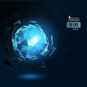 Polygonal blue abstract triangle sphere combination glow on dark space background with digital glowing dots