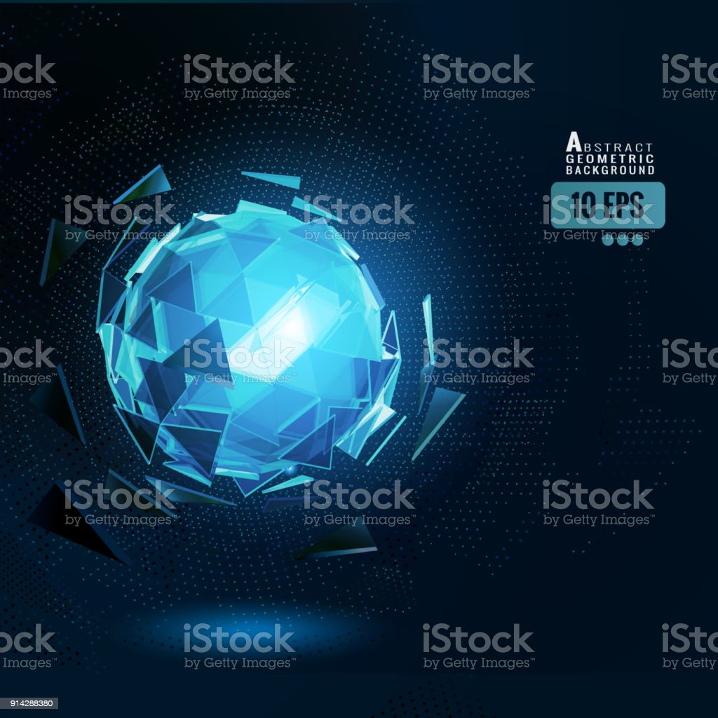Esfera abstracta poligonal en BG oscuro - ilustración de arte vectorial
