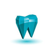 Polygonal abstract tooth. Blue low poly tooth illustration.