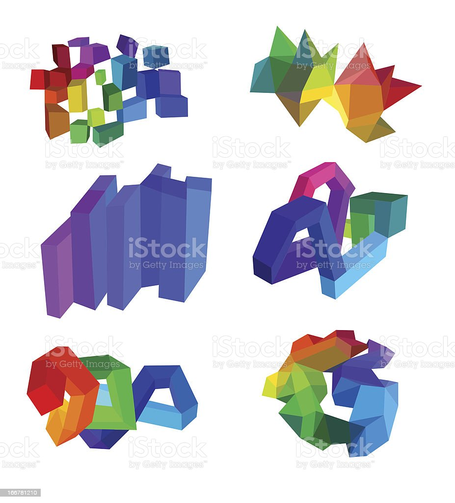 Polygonal Abstracts Set royalty-free stock vector art
