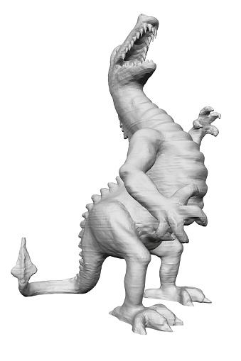 Polygonal angry dinosaur. Dinosaur Isolated On White Background. 3D. Vector illustration