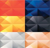 Polygonal backgrounds set. Easy color swap. EPS 10 file format contains blending and transparency. Fully editable in Adobe Illustrator 10> versions.