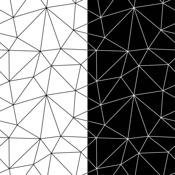 Bекторная иллюстрация Polygonal black and white backgrounds. Seamless patterns