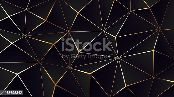 Polygonal black background. Modern design with geometric planes and shimmering gold contour. Vector illustration