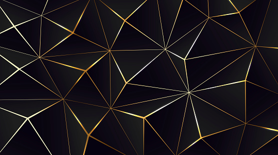 Polygonal black background. Modern design with geometric planes and shimmering gold contour
