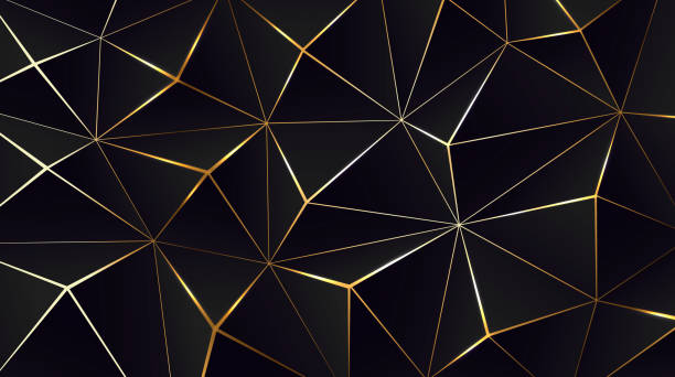 Polygonal black background. Modern design with geometric planes and shimmering gold contour Polygonal black background. Modern design with geometric planes and shimmering gold contour. Vector illustration two dimensional shape stock illustrations