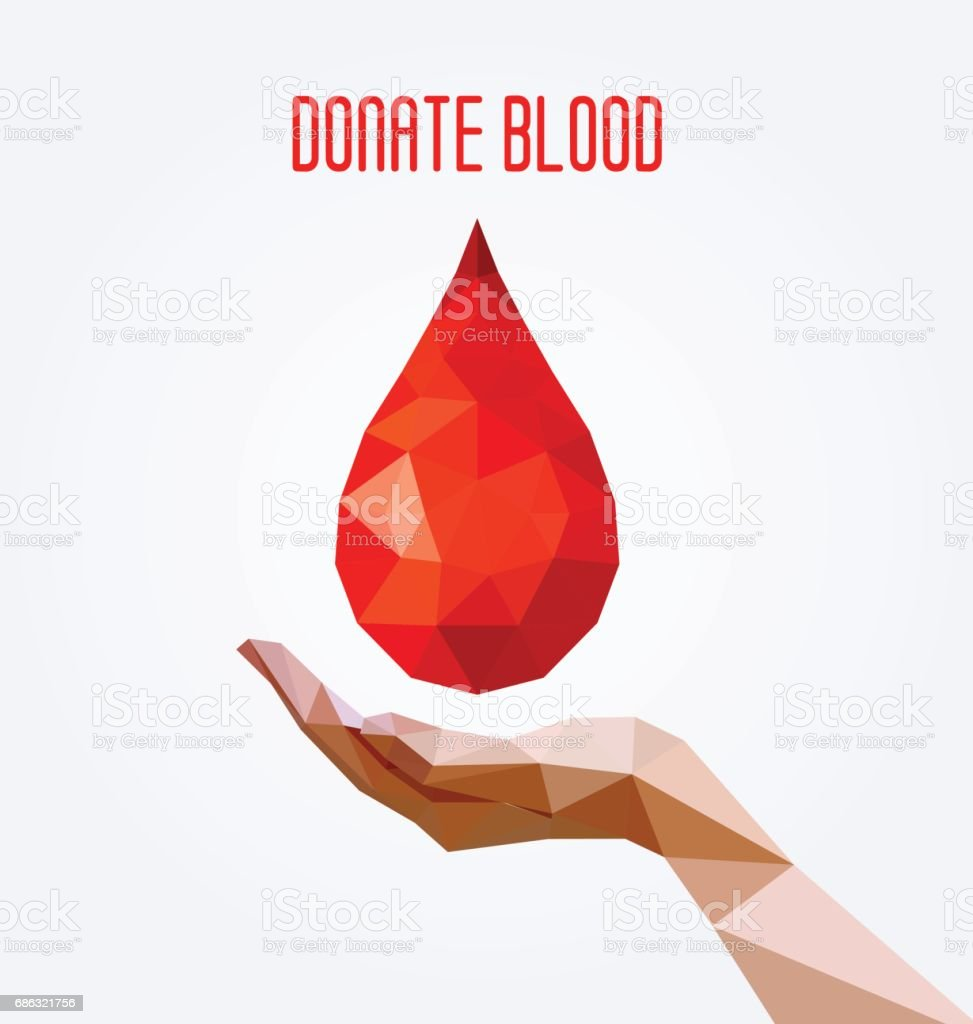 Polygonal blood drop and hand poster, blood donation concept.  Vector illustration. vector art illustration