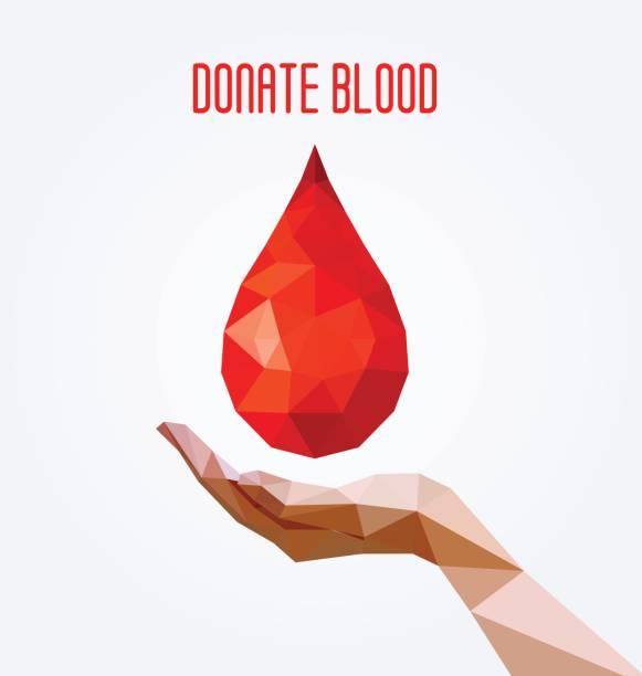 Gota de sangue poligonal e cartaz de mão, conceito de doação de sangue.  Ilustração em vetor. - ilustração de arte em vetor