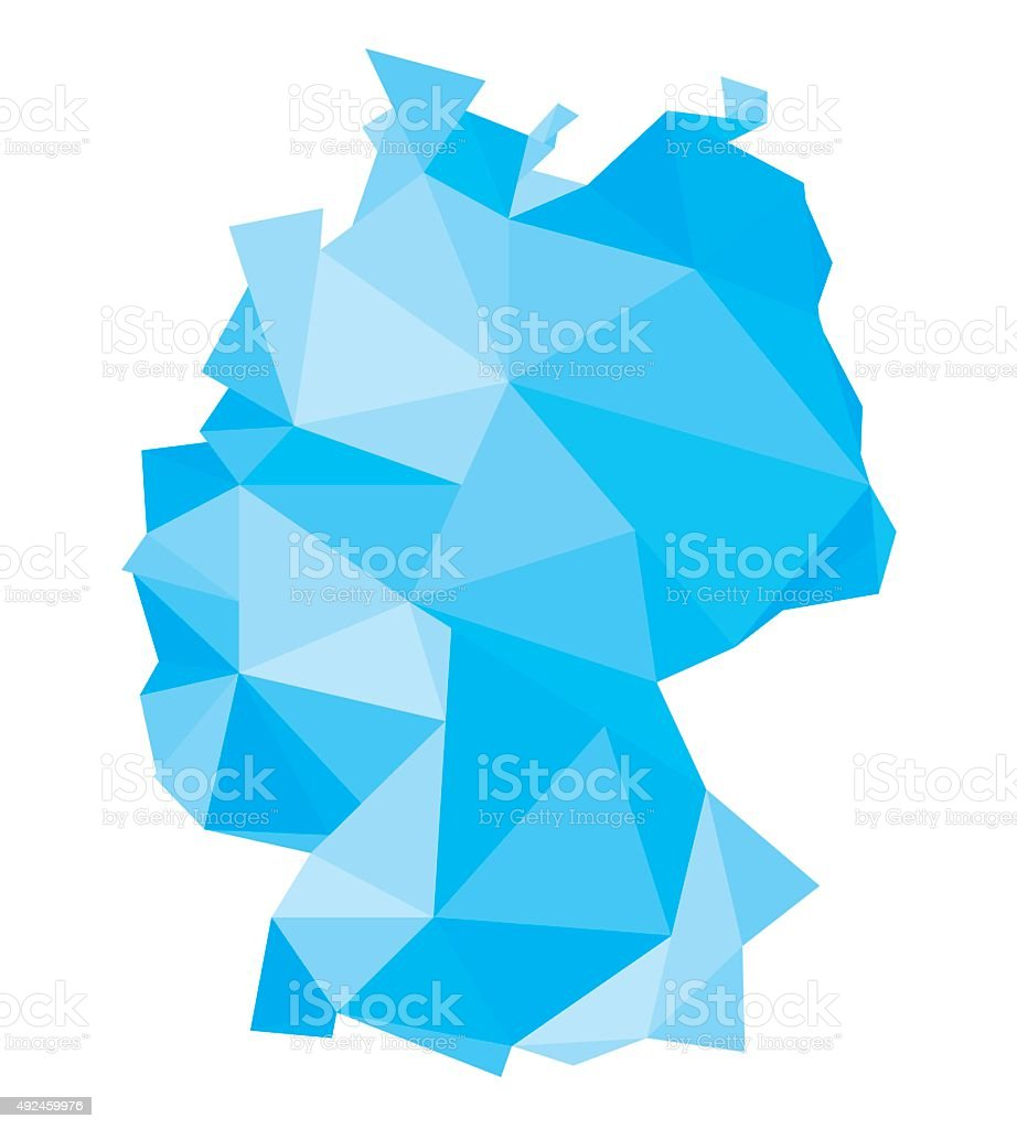 polygonal blue map of Germany vector art illustration