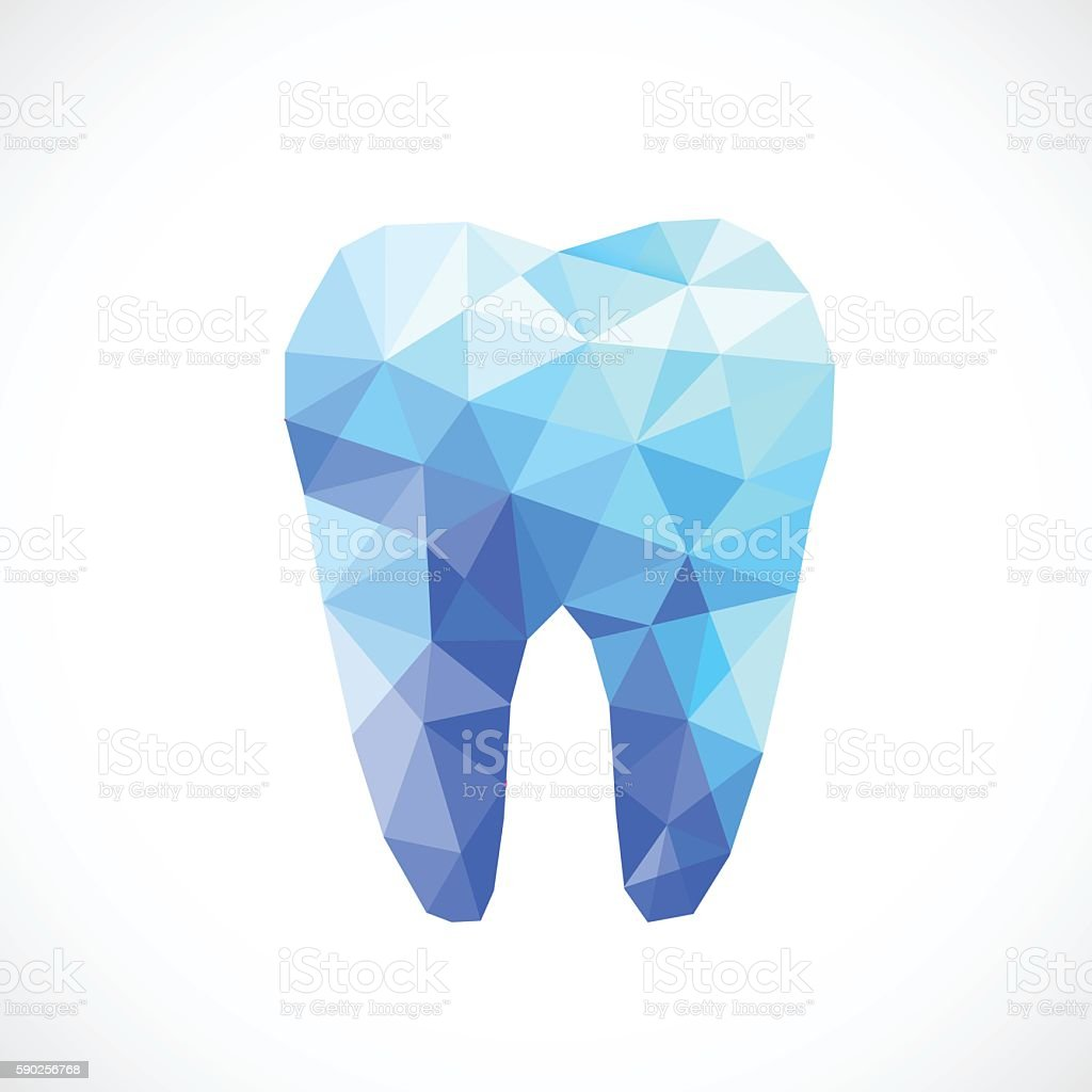 Extraction Diamond: Polygonal Blue Vector Tooth Stock Vector Art & More Images