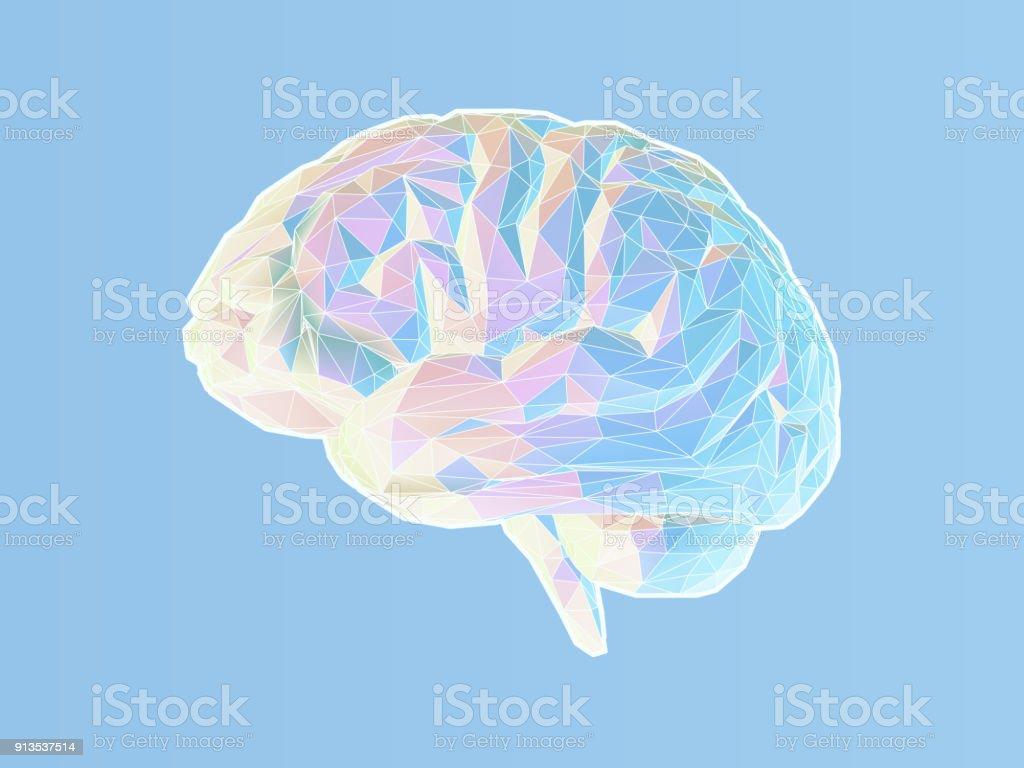 Polygonal brain illustration on blue BG vector art illustration