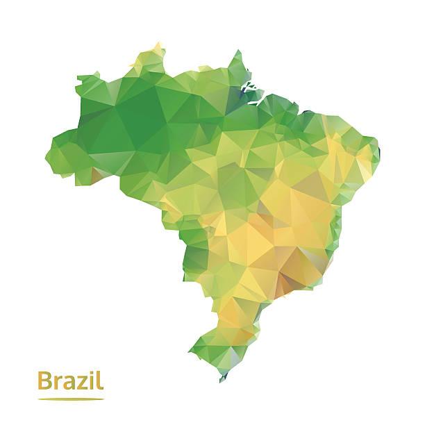 ilustrações, clipart, desenhos animados e ícones de poligonal brasil mapa, o mapa de polígono abstrata, isolada vetor - brazil map