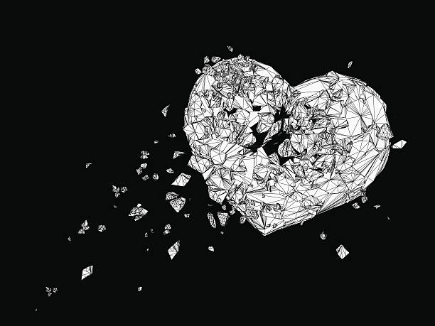 Polygonal  broken heart graphic in black and white Polygonal  broken heart drawing graphic in black and white grief stock illustrations
