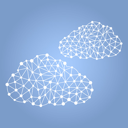 Polygonal cloud concept. Points of different sizes along the contour connected between inextricable lines. Vector illustration on a clear blue background.