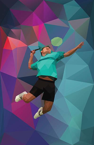 polygonal colored badminton player - badminton smash stock illustrations