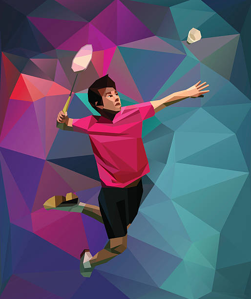 polygonal colorful badminton player - badminton smash stock illustrations