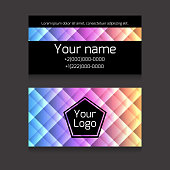 Polygonal colorful double-sided business card vector template. Vector mockup. Element for your design