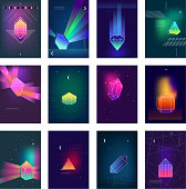 Geometric diamond prism shaped polygonal crystals bright glowing in the darkness colorful icons collection isolated vector illustration