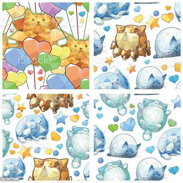 Polygonal cute cartoon cats seamless pattern set vector background vector id628801280?b=1&k=6&m=628801280&s=612x612&h=p03r8 ehlxcrz47mpq5bqybh2fktqvo 2gvq04oaoju=