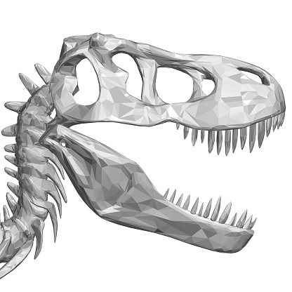 Polygonal dinosaur head. Dinosaur skull with sharp teeth. Side view. 3D. Vector illustration
