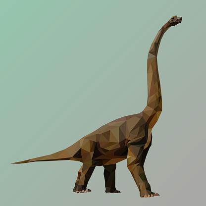 polygonal dinosaur, polygon geometric triangle animal, vector illustration