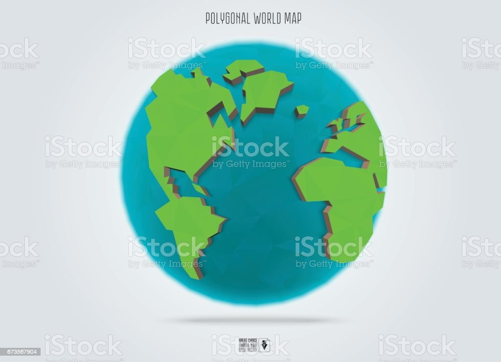 Polygonal Earth planet. Low poly design. Vector Illustration. royalty-free polygonal earth planet low poly design vector illustration stock vector art & more images of abstract