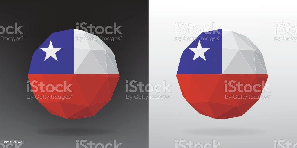 Bandera de poligonal - Chile - ilustración de arte vectorial