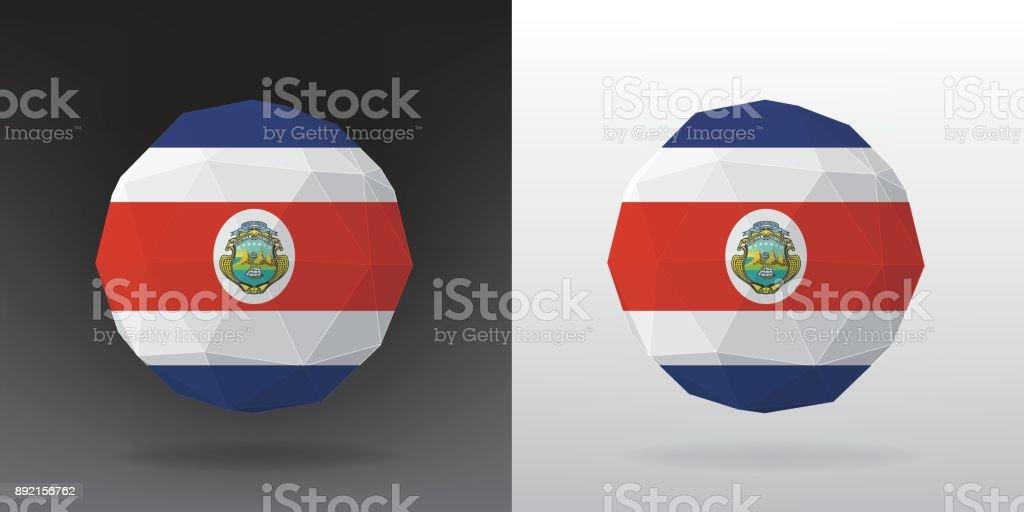 Bandeira de poligonal - Costa Rica - ilustração de arte em vetor
