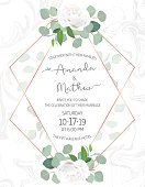 Polygonal floral vector design frame on white marble textured background. Creamy white rose, silver dollar eucalyptus, greenery. Trendy wedding card. Pink gold line art. All elements are isolated.