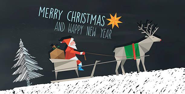 polygonal folded santa claus and reindeer sleigh on chalkboard – Vektorgrafik