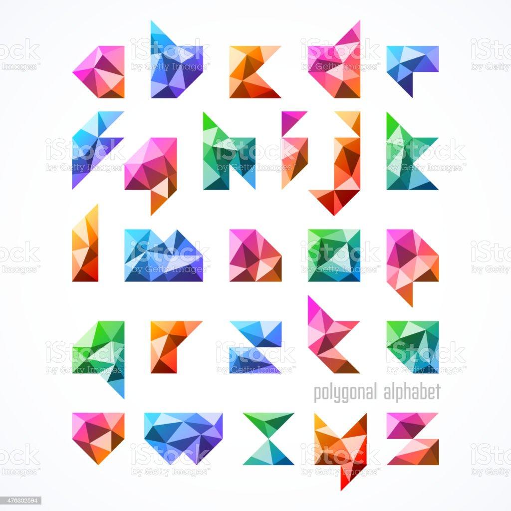 Polygonal font, alphabet vector art illustration