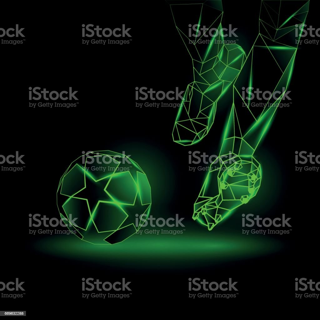 Polygonal Football Kickoff illustration. Soccer player hits the ball. Sports green neon background. vector art illustration