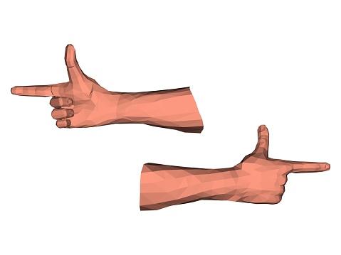 Polygonal Forefinger Pointer Hands Stock Illustration - Download Image Now
