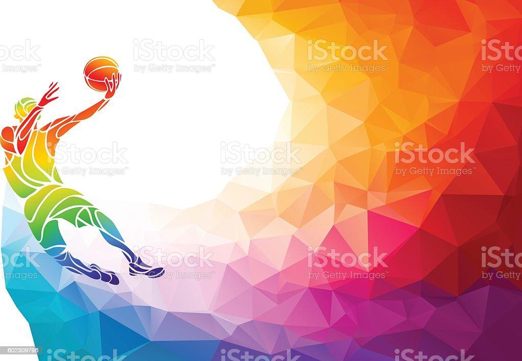 Polygonal geometric basketball player jump shot vector art illustration