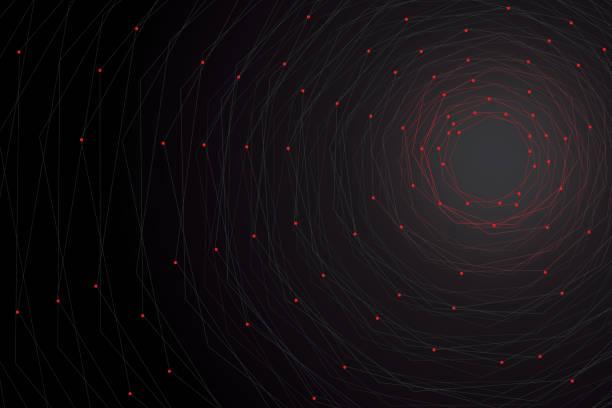 ilustrações de stock, clip art, desenhos animados e ícones de polygonal geometric networking connection concept background - vr red background