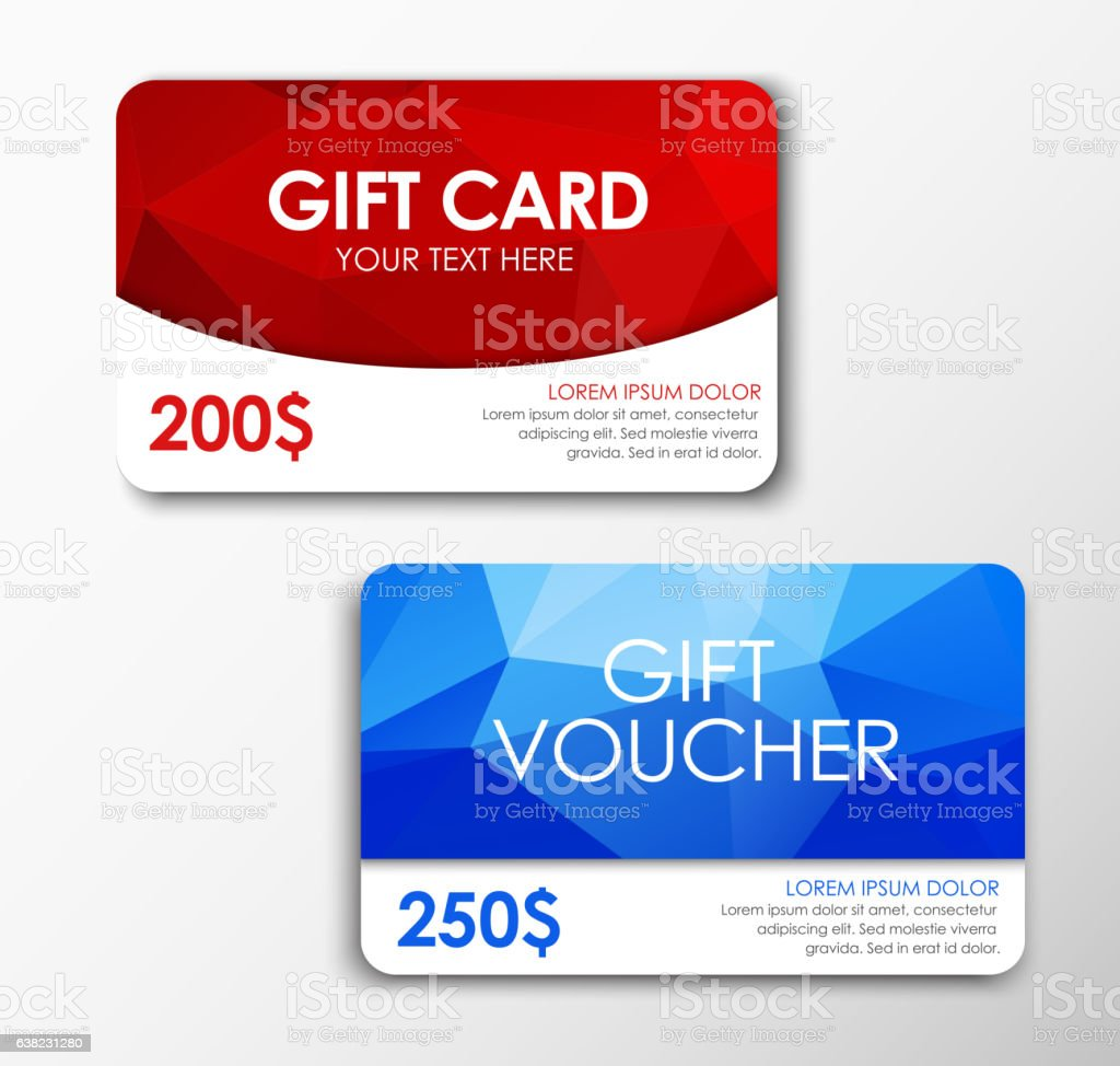 Polygonal gift card and voucher vector art illustration