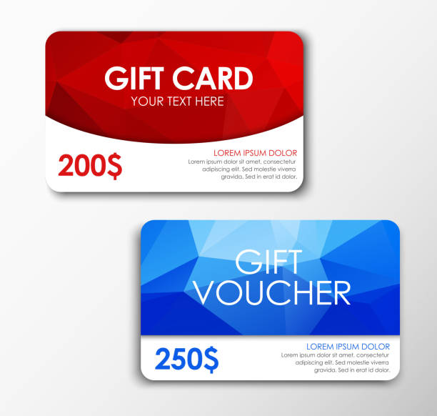 polygonal gift card and voucher - coupon stock illustrations, clip art, cartoons, & icons