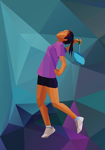 polygonal girl badminton player on low poly back - badminton smash stock illustrations
