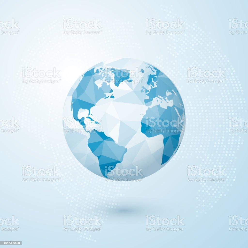 Polygonal Globe World Globe Map Creative Earth Concept Vector ... on